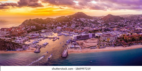 Aerial view of the cityscape of Cabo San Lucas, Mexico marina area at sunset - Los Cabos, Baja California Sur