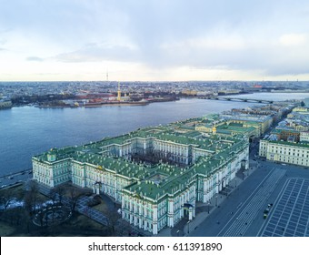 Aerial view cityscape of city center, Winter Palace (State Hermitage museum), Peter and Paul Fortress and Neva river at spring sunset, Saint Petersburg skyline. SPb, Russia