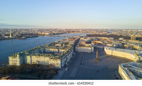 Aerial view cityscape of city center, Palace square, State Hermitage museum (Winter Palace), Neva river, Peter and Paul Fortress at spring sunset. Saint Petersburg skyline. SPb, Russia