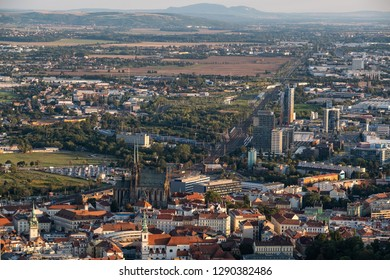 Aerial view of cityscape with historical and modern development in Brno, Czech Republic. Cathedral of St Peter and Paul in Brno.