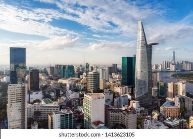 Aerial view of cityscape of Ho Chi Minh City aka Saigon, Vietnam.