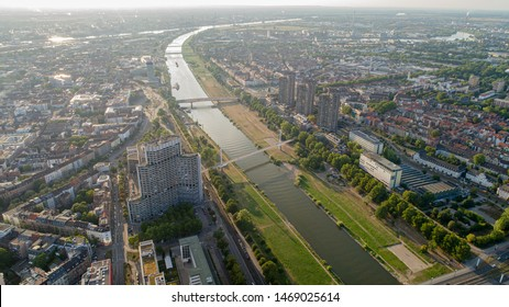 Aerial View Cityscape of Mannheim Germany With Neckar River