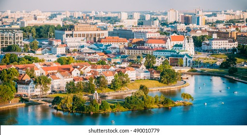 Aerial View, Cityscape Of Minsk, Belarus. Summer Season, Sunset Time. Panorama Of Nemiga District