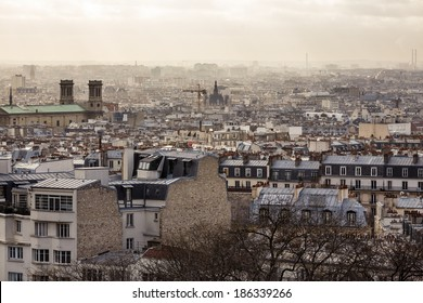 Aerial view cityscape of Paris from Montmartre