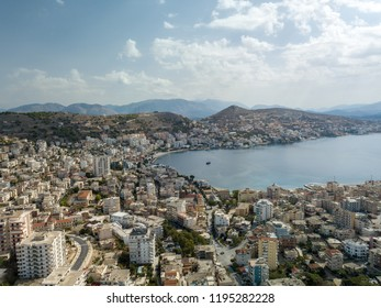 Aerial view of cityscape (Saranda, Albania) in autumn