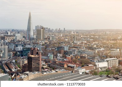Aerial view of cityscape and skyline of London, capital city of England, United Kingdom