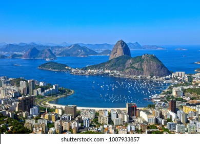Aerial view of cityscape, the Sugarloaf mountain, Atlantic ocean, Botafogo bay, Botafogo, districts of Rio de Janeiro, Brazil
