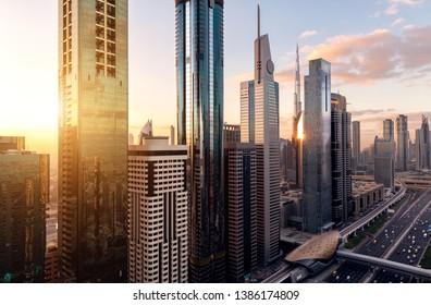 Aerial view of cityscape at sunrise in Dubai.UAE