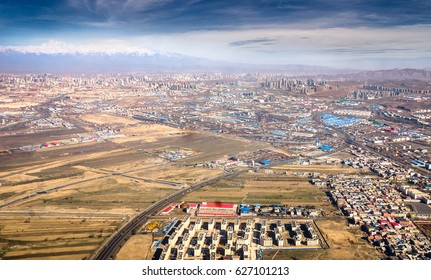 Aerial view of cityscape in Urumqi city capital of the Xinjiang Uyghur Autonomous Region , China.