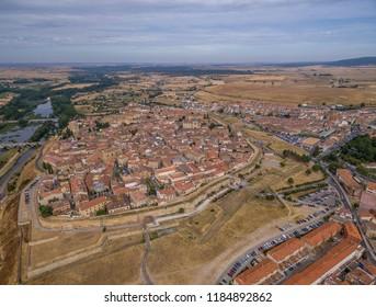 Aerial view of Ciudad Rodrigo fortifications in Spain