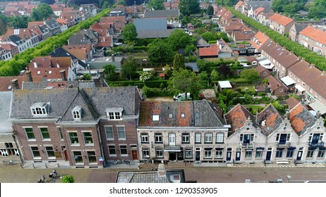 Aerial view of classic typical Dutch architecture buildings located in the historical town Willemstad is a city in the province of North Brabant in the municipality of Moerdijk