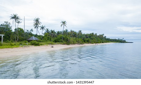 Aerial view of clean beach and many coconut tree with nice sky and blue ocean in Wakatobi, Indonesia, Asia