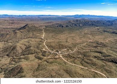 Aerial view of Cleator, Arizona along Crown King Road looking east towards Interstate 17