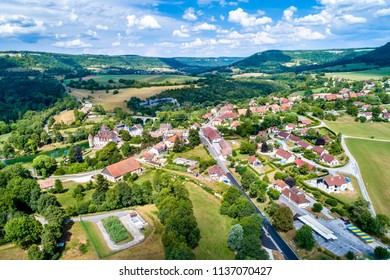 Aerial view of Cleron, a village in the Doubs department of France famous for its castle.