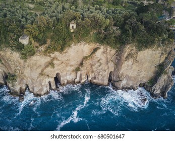 Aerial view of cliff and Sea.
