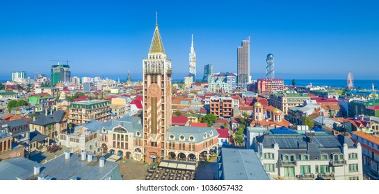 Aerial view of clock tower and tourists favourite place Batumi Piazza. Batumi city is capital of Adjara, Georgia.