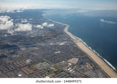 Aerial view of clouds above Huntington Beach, along the Southern California coast