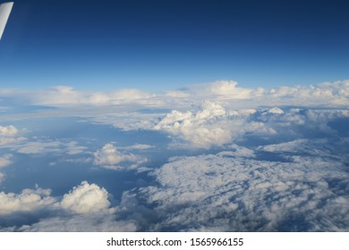 Aerial view of clouds seen from the window