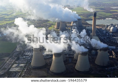 aerial view of clouds of smoke and steam coming from Drax Power Station in Yorkshire, UK