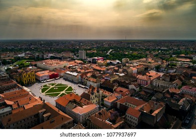 Aerial view of a cloudy day above Timisoara's historical center, Romania taken by a professional drone