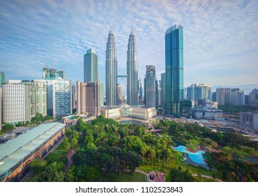 Aerial view of Cloudy sky at Kuala Lumpur city skyline