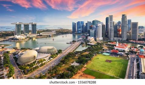 Aerial view of Cloudy sky at Marina Bay Singapore city skyline