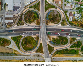 Aerial view of clover leaf freeway interchange