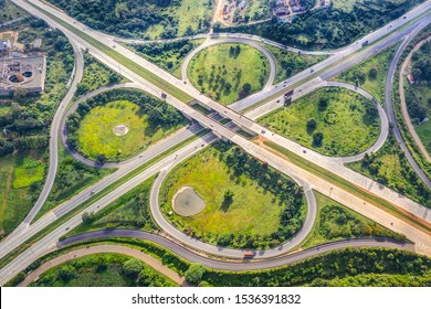 Aerial view of the Clover-Leaf Junction on NICE Road, Bangalore, India