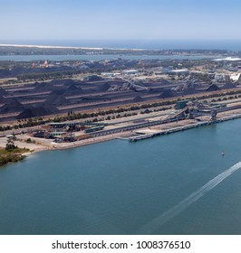 Aerial view of coal loading facility on Kooragang Island - Newcastle Australia. Newcastle is one of the biggest exporters of coal in the world.
