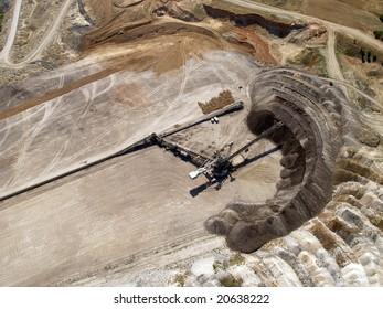 Aerial view of coal mine transfer belt