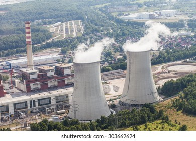 aerial view of coal power plant  cooling towers