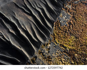 Aerial view of coal slag waste in Brecaon Beacons, Bleanavon, Wales UK