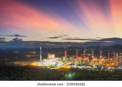 Aerial view of coal-fired power plants in a large area The machine is working to generate electricity. Beautiful evening sky, Mae Moh, Lampang Province, Thailand.