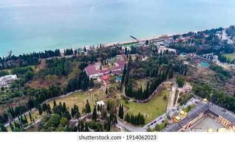 Aerial view of the coast Black sea, Akhali Atoni, Abkhazia.
