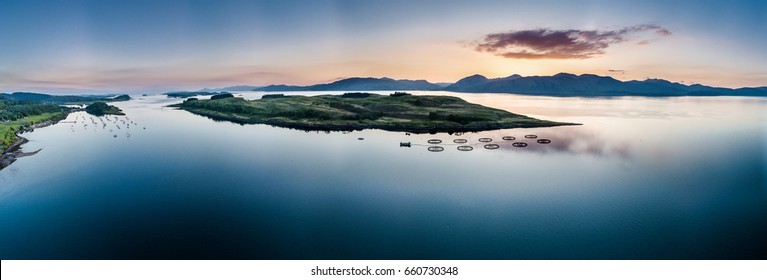 Aerial view of coast by Appin with views over Shuna Island and Arnamurchan, Scotland