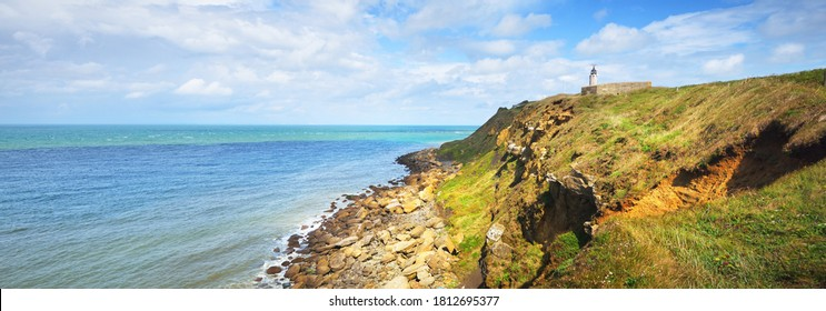 Aerial view of coast at Cap Gris Nez, France. Azure water. Picturesque panoramic scenery. Idyllic landscape. Travel destinations, eco tourism, summer vacations, national landmark, nature