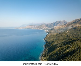 Aerial view of the coast and Ionian sea in Albania (Albanian Riviera