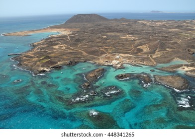 Aerial view of the coast of the island of Lobos, off the island of Fuerteventura in the Canary Islands