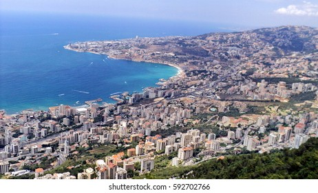 Aerial view of the coast of Jounieh Bay in Beirut, Lebanon, seen from the aerial cableway