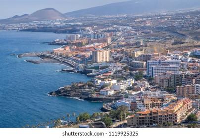 Aerial view of the coast of Las Caletillas in Tenerife, Canary Islands