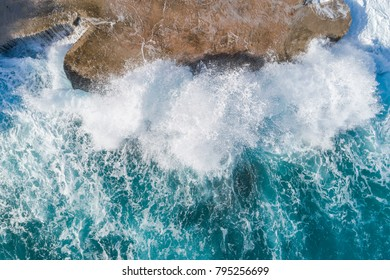 Aerial view of the coast of Montenegro. Storm waves on the Plo?e beach.
