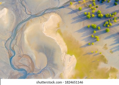 Aerial view of coast natural shape texture when low tide in Thailand