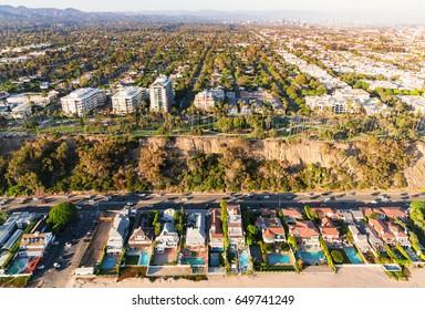 Aerial view of coastal developments in Santa Monica, CA
