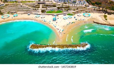 Aerial view of the coastal strip Bar Kokhva beach, Ashkelon, Israel at July 2019.