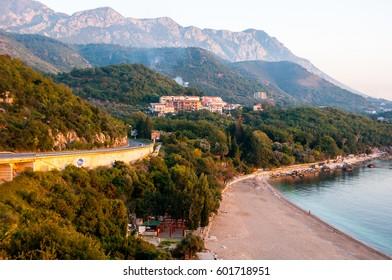 Aerial view of coastal town, Budvanska Riviera, Montenegro. Adriatic resort with beach and sea