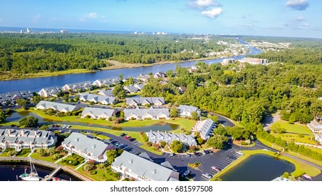 Aerial view of coastal townhomes in Myrtle Beach, ,South Carolina.