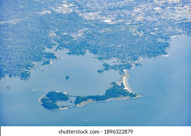 Aerial view of the coastline of Greenwich, CT, USA with Greenwich Point Park or Tods Point and its beach clearly visible in the Long Island Sound