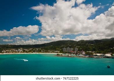 Aerial view of coastline in Kingston, Jamaica