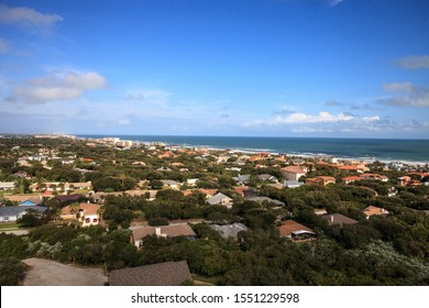 Aerial view of the coastline of New Smyrna Beach and Ponce de Leon Inlet in Central Florida.