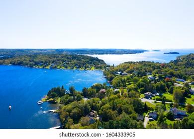 Aerial view of coastline in Nova Scotia, Canada